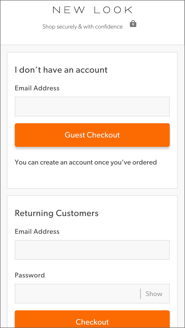 New Look Guest Checkout